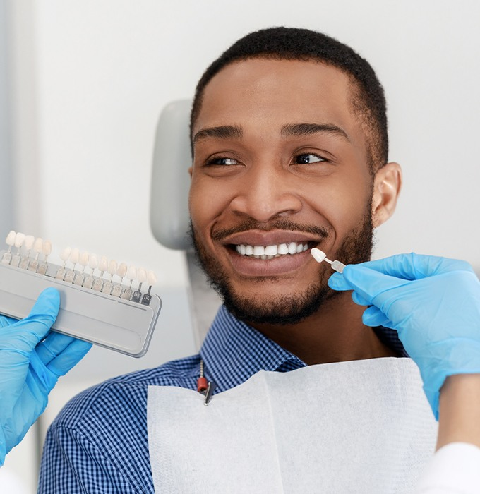 Man's smile compared with porcelain veneer shade chart
