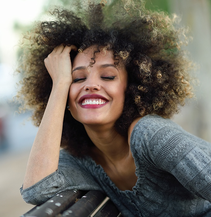 Woman's gorgeous smile after gum recontouring